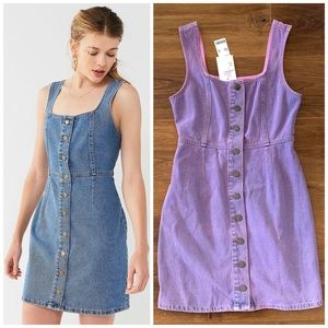 NWT UO Denim 90s Lavender Button Front Dress